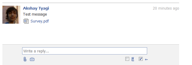 Screen shot of facebook messages showng file attachment